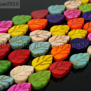 Mix-Color-Howlite-Turquoise-9mm-x-13mm-Lovely-Leaf-Spacer-Beads-16-Inches-Strand-281135958397