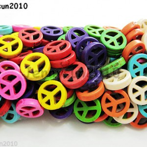 Mix-Color-Howlite-Turquoise-Carved-15mm-Peace-Sign-Spacer-Beads-16-Inches-Strand-261051646720