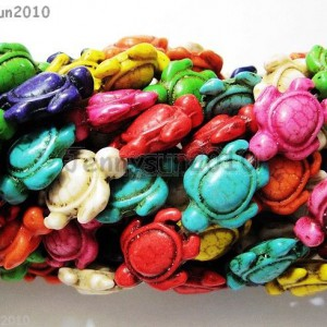 Mix-Color-Howlite-Turquoise-Carved-Turtle-Spacer-Beads-145mm-x-18mm-16-Strand-261199273305