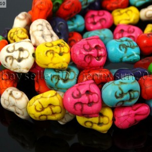 Mix-Color-Howlite-Turquoise-Gemstone-Happy-Face-Buddha-Head-Beads-155-Strand-251115841173