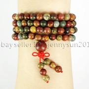 Natural-6mm-Gemstone-Buddhist-108-Beads-Prayer-Mala-Stretchy-Bracelet-Necklace-371631549219-34d1