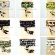 Natural-6mm-Gemstone-Buddhist-108-Beads-Prayer-Mala-Stretchy-Bracelet-Necklace-371631549219-4