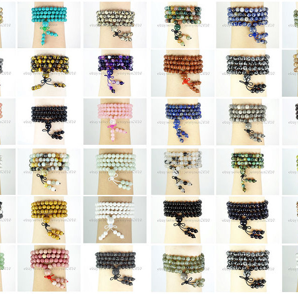 Natural-6mm-Gemstone-Buddhist-108-Beads-Prayer-Mala-Stretchy-Bracelet-Necklace-371631549219