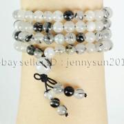 Natural-6mm-Gemstone-Buddhist-108-Beads-Prayer-Mala-Stretchy-Bracelet-Necklace-371631549219-84cb