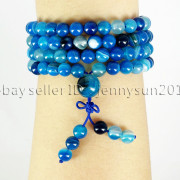Natural-6mm-Gemstone-Buddhist-108-Beads-Prayer-Mala-Stretchy-Bracelet-Necklace-371631549219-b678