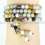 Natural-6mm-Gemstone-Buddhist-108-Beads-Prayer-Mala-Stretchy-Bracelet-Necklace-371631549219-bea4
