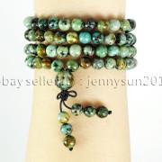 Natural-6mm-Gemstone-Buddhist-108-Beads-Prayer-Mala-Stretchy-Bracelet-Necklace-371631549219-e838