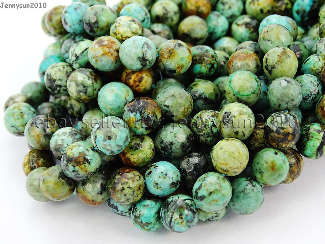 Natural African Turquoise Gemstone Faceted Round Beads 6mm 8mm 10mm 12mm 15.5/'/'