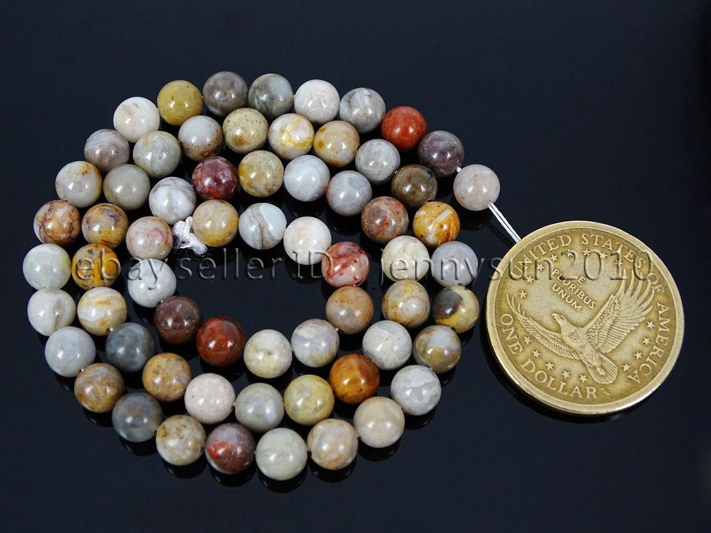 Natural Bamboo Leaf Agate Gemstone Round Beads 15 5