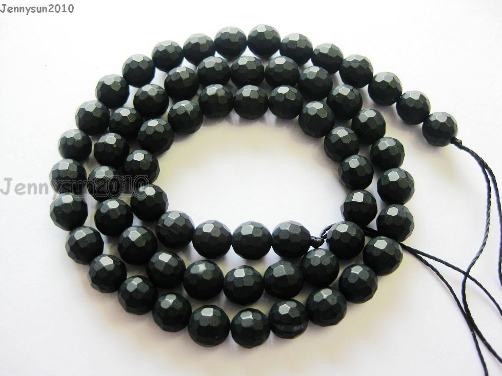 Natural Black Onyx Gemstone Faceted Round Beads Matte 15 5