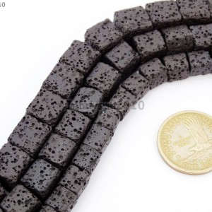 Natural-Black-Volcanic-Lava-Gemstone-Square-Cube-Beads-155-8mm-10mm-12mm-New-281444620995