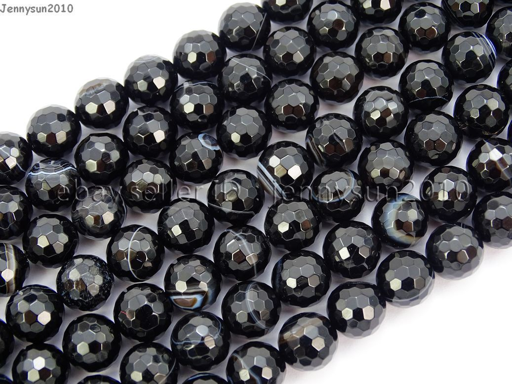 What Color Is Onyx Gemstone : Natural black with stripe onyx gemstone faceted round