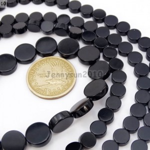 Natural-Blak-Onyx-Gemstone-Flat-Round-Coin-Loose-Beads-15-6mm-8mm-10mm-12mm-251086227768