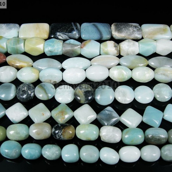 Natural-Colorful-Amazonite-Gemstone-Beads-16-Nugget-Coin-Rice-Square-Rectangle-261355000489