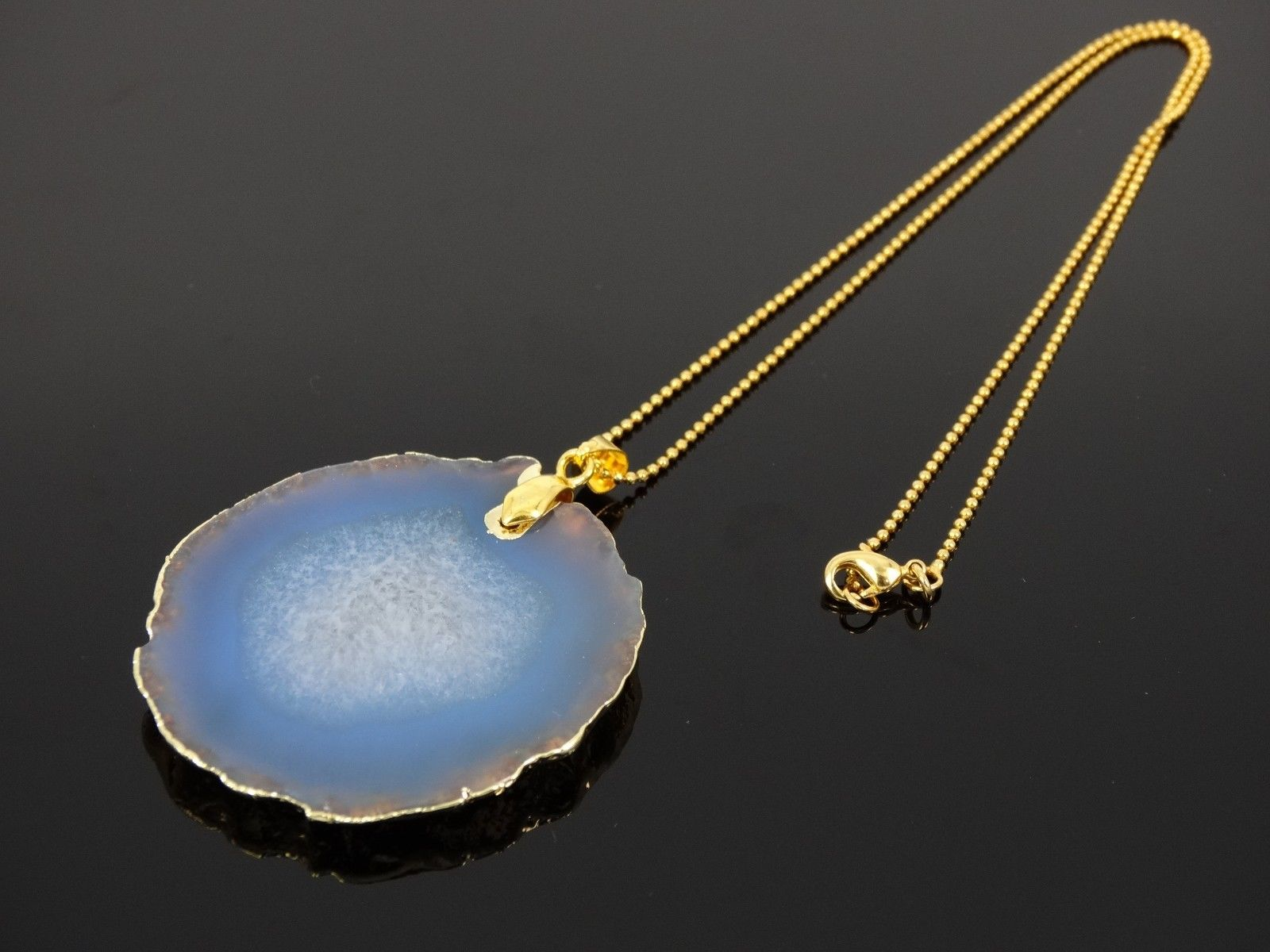 Natural Druzy Quartz Agate Gemstone Sliced Pendant Charm