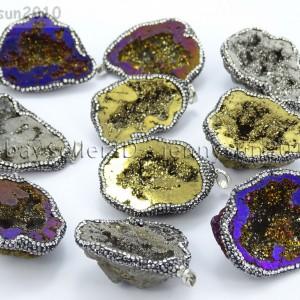 Natural-Druzy-Quartz-Agate-Geode-Czech-Crystal-Rhinestones-Pendant-Charm-Beads-262175353146
