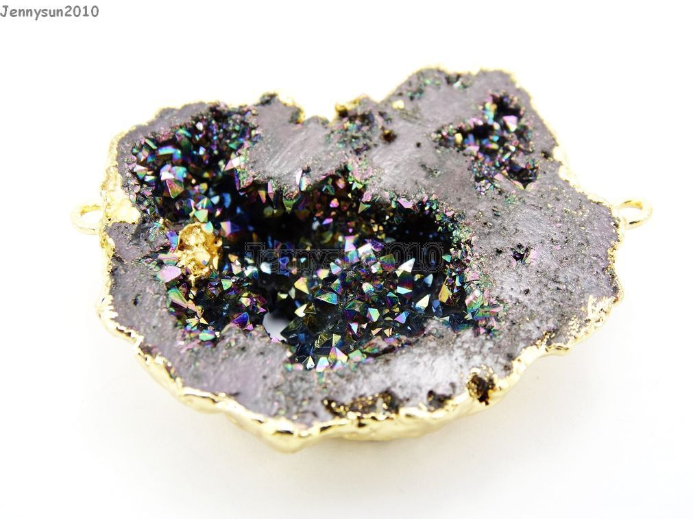 Natural Druzy Quartz Agate Geode Sliced Bracelet Necklace