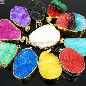 Natural-Druzy-Quartz-Agate-Nugget-Pendant-Charm-Beads-18K-Silver-Gold-Necklace-371315219758