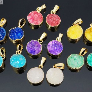 Natural-Druzy-Quartz-Agate-Round-Pendant-Gold-Edge-Charm-Beads-Necklace-Earring-281689320550