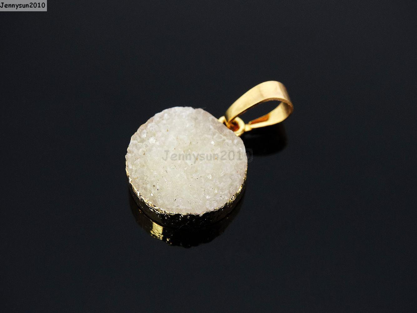 Natural Druzy Quartz Agate Round Pendant Gold Edge Charm