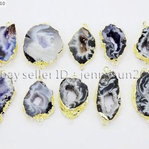 Natural-Druzy-Quartz-Pattern-Agate-Geode-Bracelet-Necklace-Connector-Charm-Bead-371335221554
