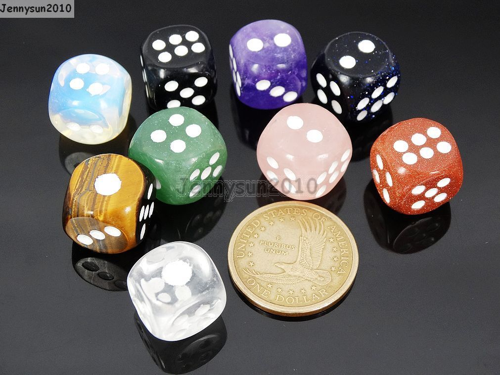 Natural Gemstone Dots Square Dice Beads Game Toys Casino Lucky Reiki Chakra 15mm