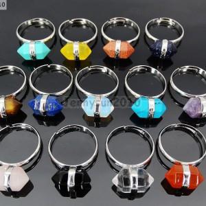 Natural-Gemstone-Hexagon-Prism-Healing-Reiki-Chakra-Beads-Silver-Adjustable-Ring-371171516184