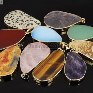 Natural-Gemstone-Nugget-Sliced-Reiki-Chakra-Healing-Pendant-Necklaces-Beads-Gold-261835086674