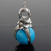 Natural-Gemstone-Round-Ball-Eagle-Claw-Falcon-Talons-Healing-Pendant-Charm-Bead-262762610662-014d
