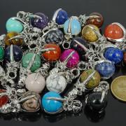 Natural-Gemstone-Round-Ball-Eagle-Claw-Falcon-Talons-Healing-Pendant-Charm-Bead-262762610662-3