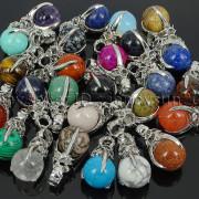 Natural-Gemstone-Round-Ball-Eagle-Claw-Falcon-Talons-Healing-Pendant-Charm-Bead-262762610662-4