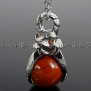 Natural-Gemstone-Round-Ball-Eagle-Claw-Falcon-Talons-Healing-Pendant-Charm-Bead-262762610662-97b7