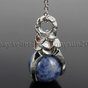 Natural-Gemstone-Round-Ball-Eagle-Claw-Falcon-Talons-Healing-Pendant-Charm-Bead-262762610662-bbfd