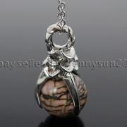 Natural-Gemstone-Round-Ball-Eagle-Claw-Falcon-Talons-Healing-Pendant-Charm-Bead-262762610662-da1f