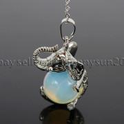 Natural-Gemstone-Round-Ball-Reiki-Chakra-Healing-Elephant-Pendant-Necklace-Beads-262733039975-03f3
