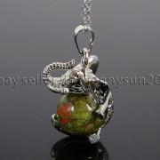 Natural-Gemstone-Round-Ball-Reiki-Chakra-Healing-Elephant-Pendant-Necklace-Beads-262733039975-28b2