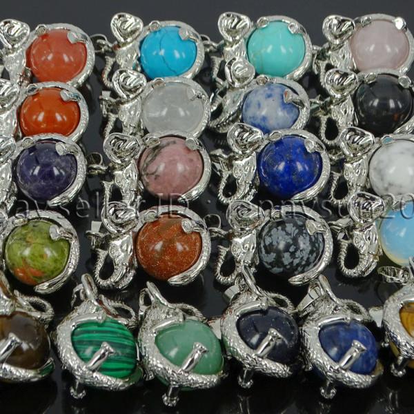 Natural-Gemstone-Round-Ball-Reiki-Chakra-Healing-Elephant-Pendant-Necklace-Beads-262733039975