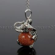 Natural-Gemstone-Round-Ball-Reiki-Chakra-Healing-Elephant-Pendant-Necklace-Beads-262733039975-8616