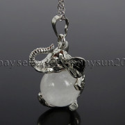 Natural-Gemstone-Round-Ball-Reiki-Chakra-Healing-Elephant-Pendant-Necklace-Beads-262733039975-98ec