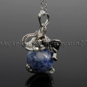 Natural-Gemstone-Round-Ball-Reiki-Chakra-Healing-Elephant-Pendant-Necklace-Beads-262733039975-c1cb