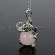 Natural-Gemstone-Round-Ball-Reiki-Chakra-Healing-Elephant-Pendant-Necklace-Beads-262733039975-c767