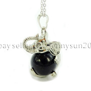 Natural-Gemstone-Round-Ball-Reiki-Chakra-Healing-Elephant-Pendant-Necklace-Beads-262733039975-cfa3