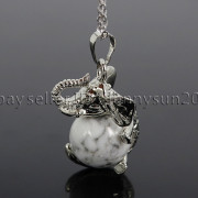 Natural-Gemstone-Round-Ball-Reiki-Chakra-Healing-Elephant-Pendant-Necklace-Beads-262733039975-d6e2