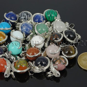 Natural-Gemstone-Round-Ball-Reiki-Chakra-Healing-Lizard-Pendant-Necklace-Beads-262739138496-2