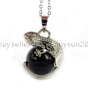 Natural-Gemstone-Round-Ball-Reiki-Chakra-Healing-Lizard-Pendant-Necklace-Beads-262739138496-221a