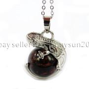 Natural-Gemstone-Round-Ball-Reiki-Chakra-Healing-Lizard-Pendant-Necklace-Beads-262739138496-2a20