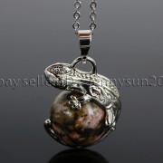 Natural-Gemstone-Round-Ball-Reiki-Chakra-Healing-Lizard-Pendant-Necklace-Beads-262739138496-3