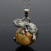 Natural-Gemstone-Round-Ball-Reiki-Chakra-Healing-Lizard-Pendant-Necklace-Beads-262739138496-6004