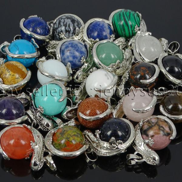 Natural-Gemstone-Round-Ball-Reiki-Chakra-Healing-Lizard-Pendant-Necklace-Beads-262739138496