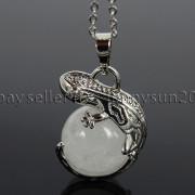 Natural-Gemstone-Round-Ball-Reiki-Chakra-Healing-Lizard-Pendant-Necklace-Beads-262739138496-753e